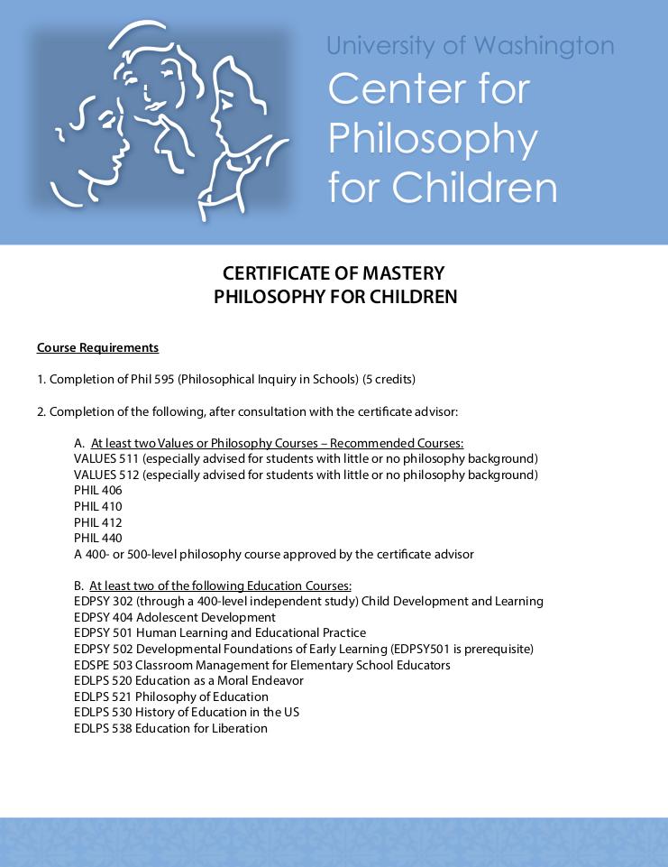 Certificate Of Mastery Center For Philosophy For Children